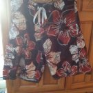 Mens Board Shorts No Label Size 32 Black & Siena Print