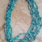 beach blue multi strand beaded necklace
