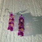 purple beaded dangling pierced earrings