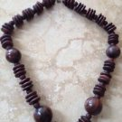 large wooden beaded necklace brown