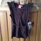 roxy girl brown tunic top tied on side size medium