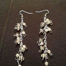 dangling cascading pearl tone and crystal clear beaded pierced earrings