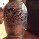 "Set of 4 Multicolored Asian Vases 6"" & 4.5"""