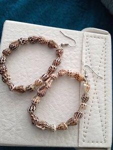 beach shell natural brown toned loop pierced earrings