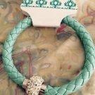 braided leather turquoise Bracelet with magnetic rhinestone closure