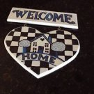 "wooden welcome home sign turquoise and black approx 12"" x 11"""