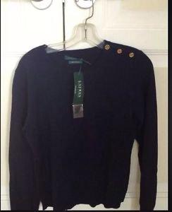 100% cashmere sweater Lauren by Ralph Lauren gold button shoulder size L navy ^