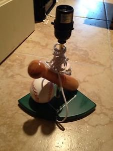 baseball & bat lamp base with plug (lampshade not included)