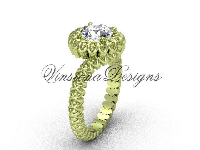 "14kt yellow gold engagement ring, ""Forever One"" Moissanite VD1006"