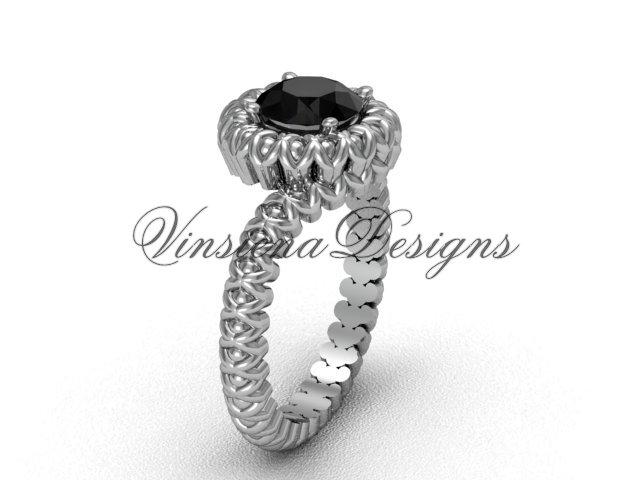 14kt white gold engagement ring, Black Diamond VD1006