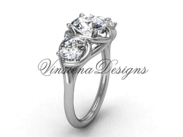"Platinum Three stone engagement ring,""Forever One"" Moissanite VD10014"