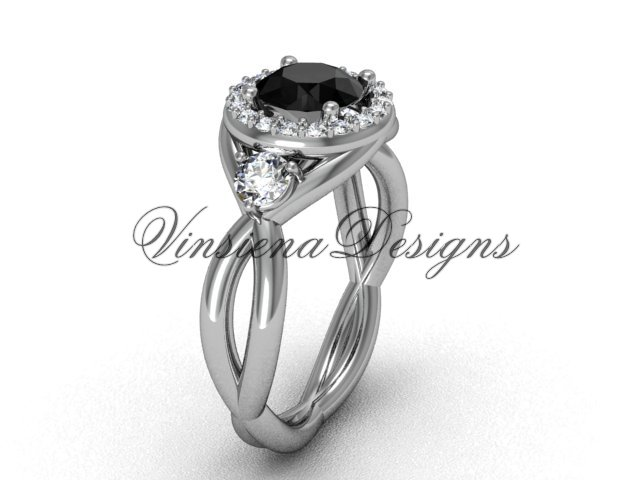Unique 14k white gold Three stone engagement ring,Black Diamond VD8127