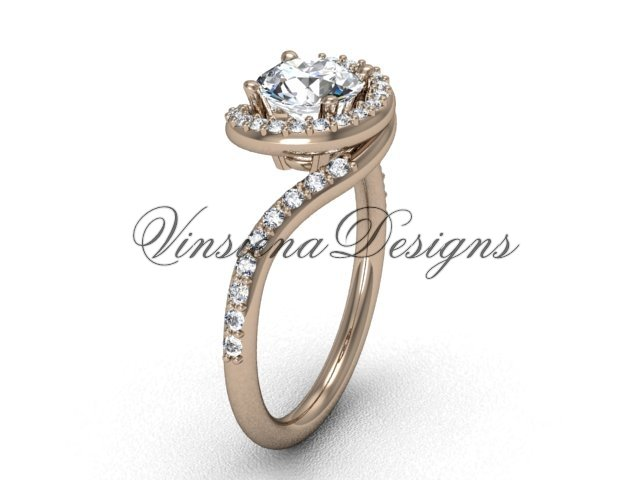 "14kt rose gold unique diamond engagement ring, ""Forever One"" Moissanite VD8199"