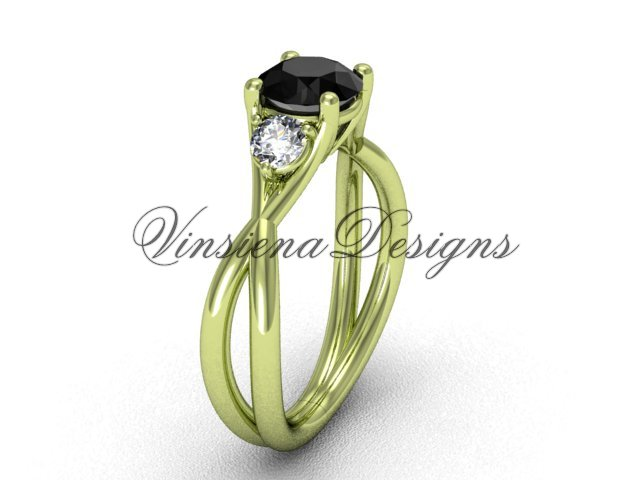 Unique 14kt yellow gold Three stone engagement ring, Black Diamond VD8212