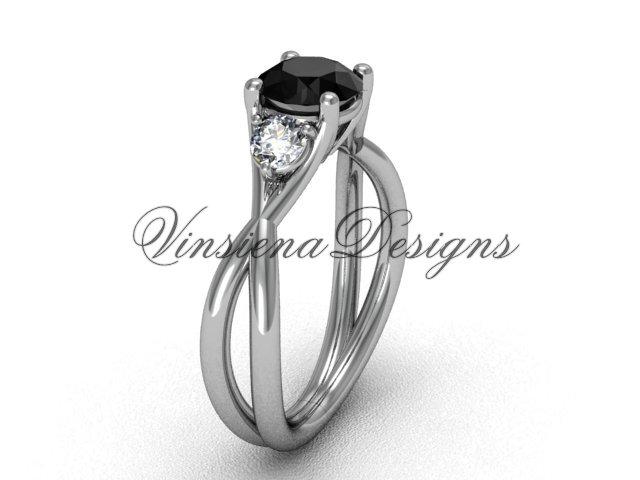 Unique Platinum Three stone engagement ring, Black Diamond VD8212