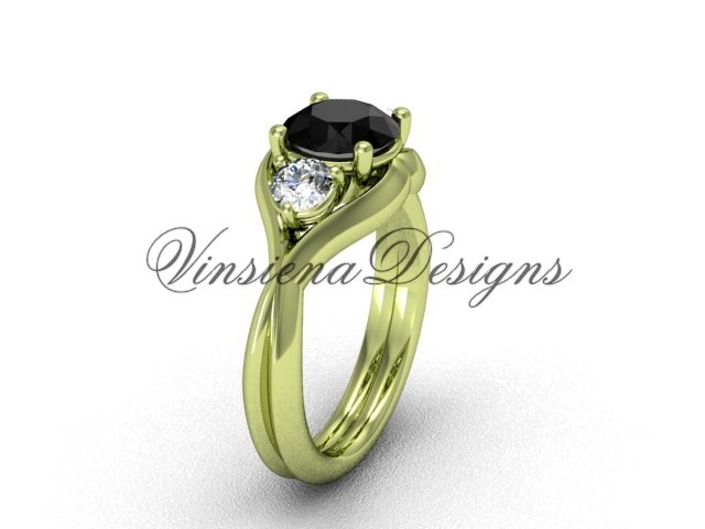 Unique 14kt yellow gold Three stone engagement ring,Black Diamond VD8220