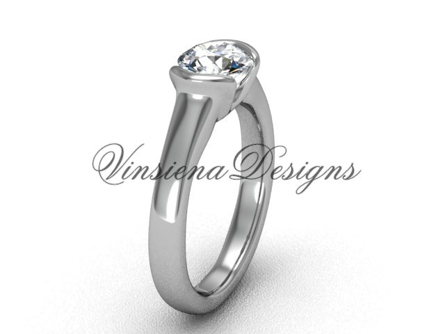 "Platinum engagement ring, ""Forever One"" Moissanite VD10016"
