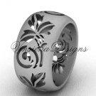 Platinum floral matte finish engagement ring,wedding band VD10034G