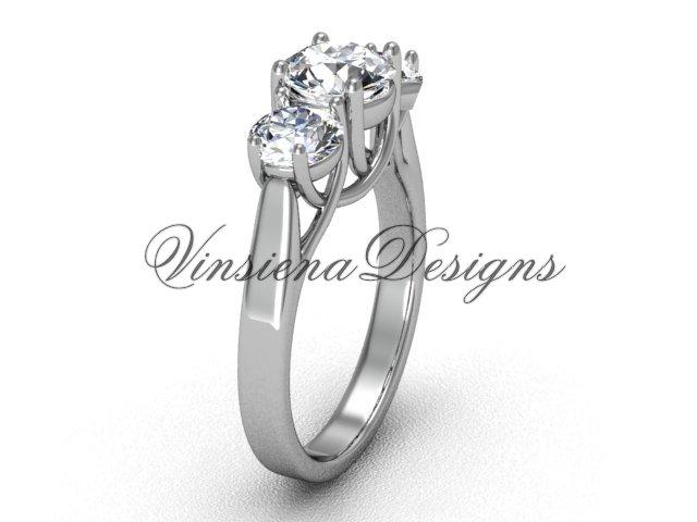 """14kt white gold Three stone engagement ring, """"Forever One"""" Moissanite VD10019"""