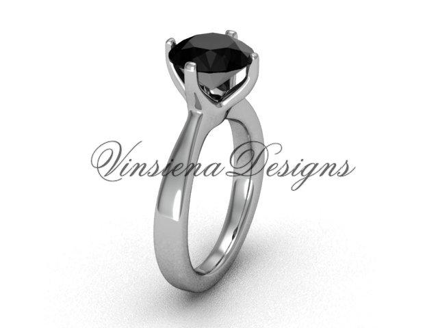 14kt white gold engagement ring,wedding ring Black Diamond VD10020