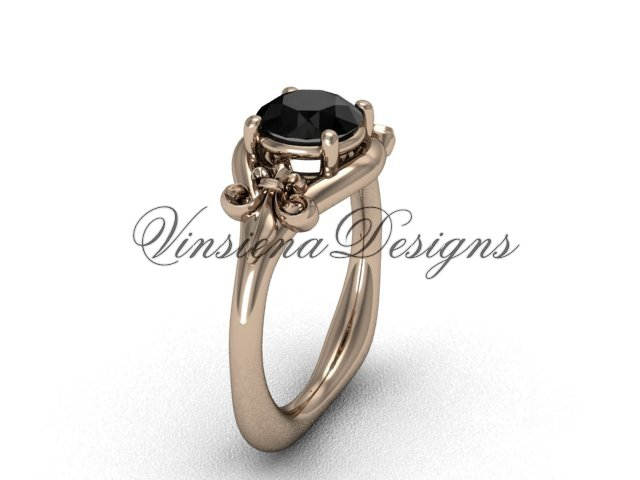 14kt rose gold Fleur de Lis engagement ring,Black Diamond VD10022