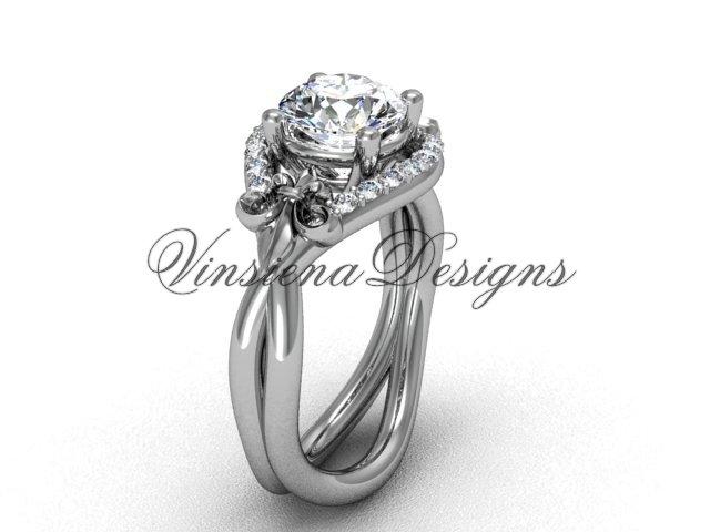14kt white gold diamond Fleur de Lis engagement ring VD10026