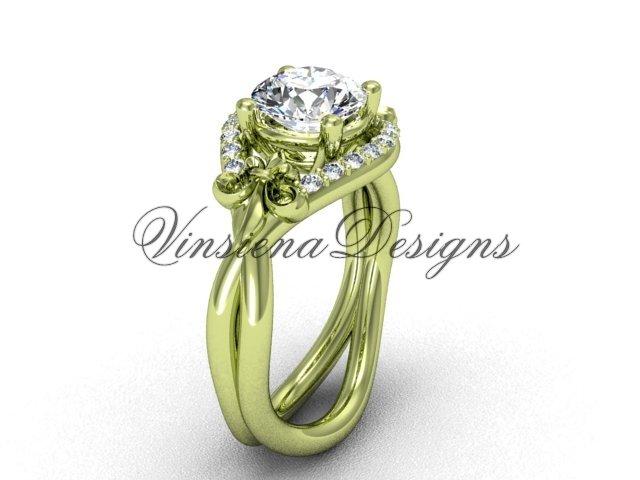 14kt yellow gold diamond Fleur de Lis engagement ring VD10026