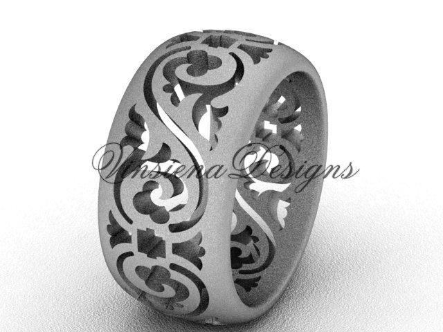 14kt white gold floral matte finish engagement ring,wedding band VD10036G