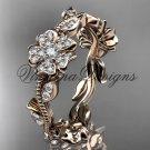 14kt rose gold diamond Cherry Blossom Flower, Sakura wedding band VD8004