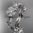 Platinum diamond Cherry Blossom Flower, Sakura wedding band VD8004