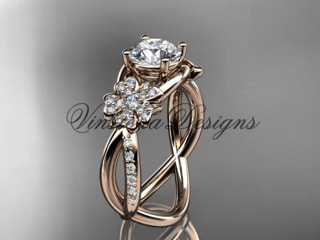 """14kt rose gold diamond Cherry Blossom flower, Sakura engagement ring """"Forever One"""" Moissanite VD8090"""