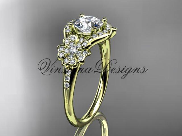 """14kt yellow gold diamond Cherry Blossom, Sakura engagement ring """"Forever One"""" Moissanite VD8091"""