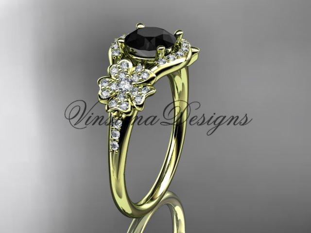 14kt yellow gold diamond Cherry Blossom flower, Sakura engagement ring Black Diamond VD8091