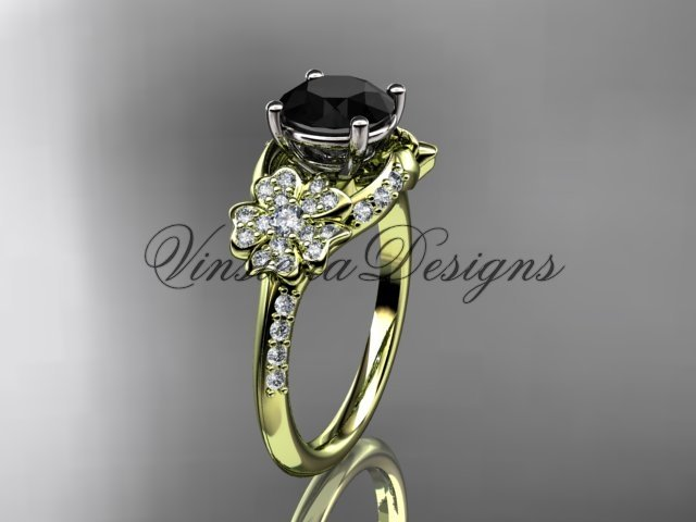 14kt yellow gold diamond Cherry Blossom flower, Sakura engagement ring Black Diamond VD8125