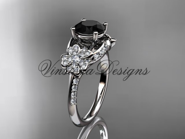 14kt white gold diamond Cherry Blossom , Sakura engagement ring Black Diamond VD8125