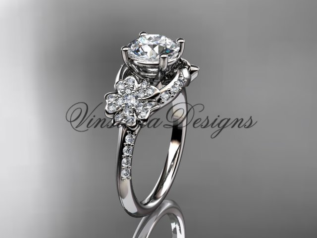 "Platinum diamond Cherry Blossom, Sakura engagement ring ""Forever One"" Moissanite VD8125"