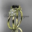 14kt yellow gold diamond Cherry Blossom flower, Sakura engagement ring Black Diamond VD8130