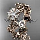 14kt rose gold diamond Cherry Blossom flower, Sakura engagement ring, wedding band VD8138