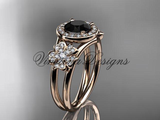 14kt rose gold diamond Cherry Blossom, Sakura engagement ring Black Diamond VD8131
