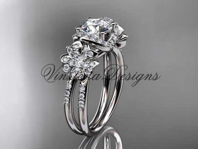 14kt white gold diamond Cherry Blossom flower, Sakura engagement ring VD8140