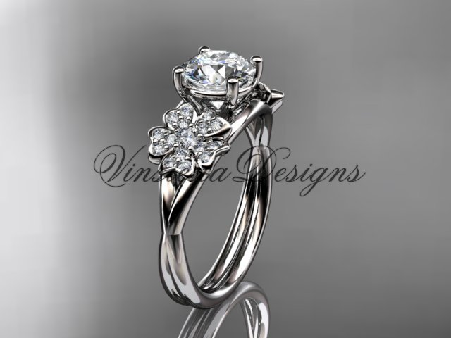 "14kt white gold diamond Cherry Blossom , Sakura engagement ring ""Forever One"" Moissanite VD8189"