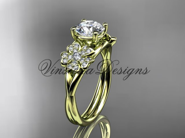 "14kt yellow gold diamond Cherry Blossom, Sakura engagement ring ""Forever One"" Moissanite VD8189"