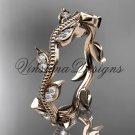 14k rose gold diamond leaf wedding band VD8151B