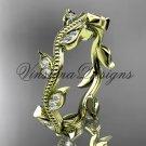 14k yellow gold diamond leaf wedding band VD8151B