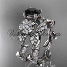 14kt white gold diamond Cherry Blossom flower, Sakura engagement ring set, Black Diamond VD8151S