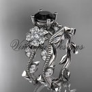 Platinum diamond Cherry Blossom flower, Sakura engagement ring set, Black Diamond VD8151S