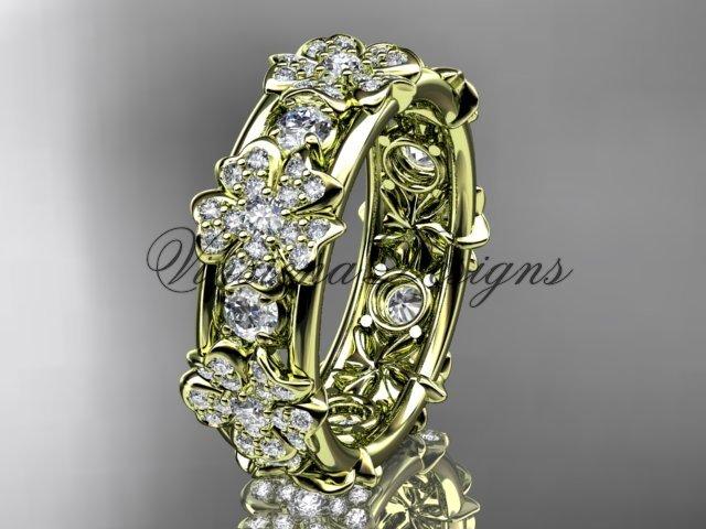 14k yellow gold diamond Cherry Blossom flower, Sakura wedding band VD8160