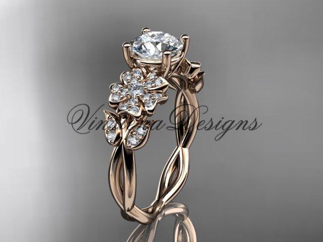 14kt rose gold diamond Cherry Blossom flower, Sakura engagement ring One Moissanite VD10043