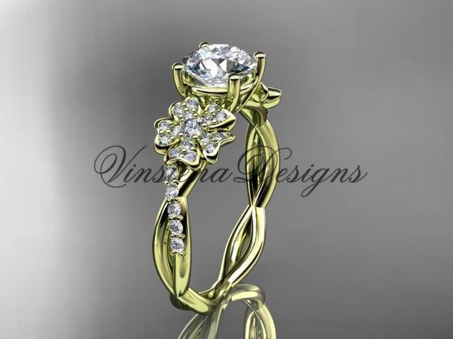 14kt yellow gold diamond Cherry Blossom flower, Sakura engagement ring VD10044