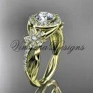 14kt yellow gold diamond Cherry Blossom flower, Sakura engagement ring One Moissanite VD10039